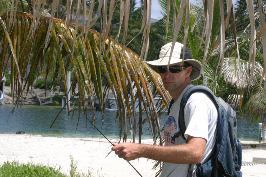 Duncan Irschick catching lizards in the Bahamas